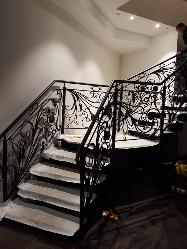 Bar Schmiedeeisenrohr Treppengel/änder 60-300cm Gegen die Wand /Ältere Kinder Innen- und Au/ßenkorridor Dachgeschoss Restaurant Retro Gel/änder Handlauf Schwarz